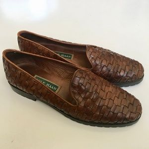 Cole Haan Woven Leather Slip on Loafers Size 9b